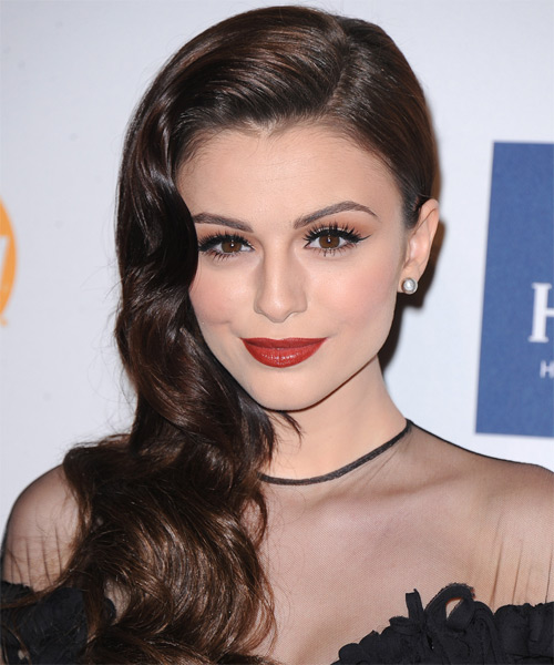Cher Lloyd Long Wavy Formal Hairstyle - Dark Brunette (Mocha) Hair Color - side view