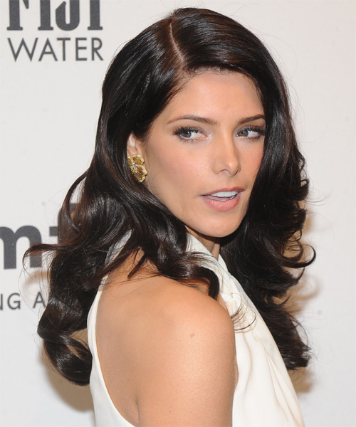 Ashley Greene Long Wavy Hairstyle - Dark Brunette (Mocha) - side view