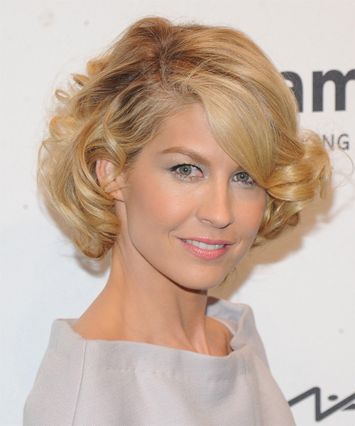 Jenna Elfman Short Curly Hairstyle - Medium Blonde (Honey) - side view