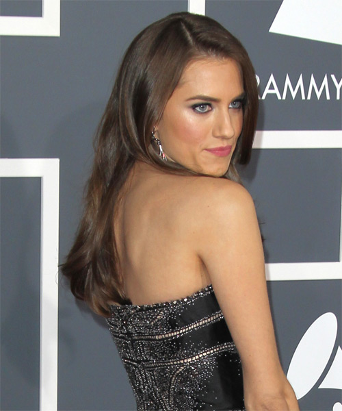Allison Williams Long Straight Hairstyle - Medium Brunette (Chestnut) - side view