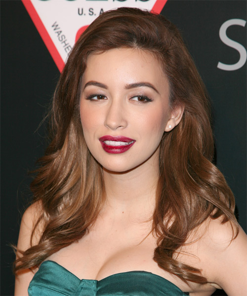 Christian Serratos Long Straight Casual Hairstyle - Medium Brunette (Auburn) Hair Color - side view