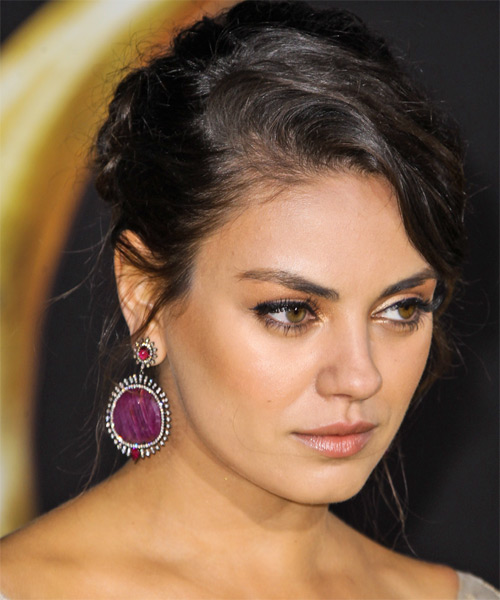 Mila Kunis Casual Curly Updo Hairstyle - Black - side view