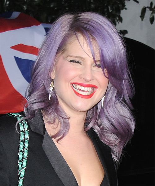 Kelly Osbourne Medium Wavy Hairstyle - Purple - side view 1