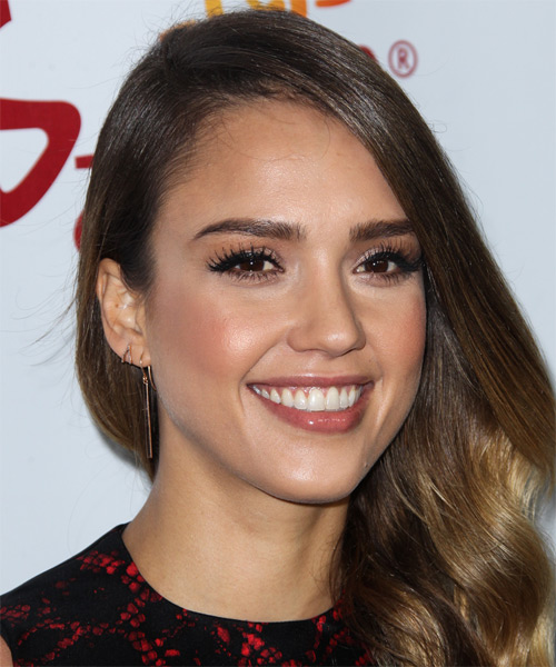 Jessica Alba Long Wavy Casual Hairstyle - Medium Brunette Hair Color - side view
