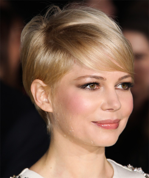 Michelle Williams Short Straight Hairstyle - Light Blonde (Champagne) - side view 1