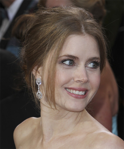 Amy Adams Straight Formal Updo Hairstyle - Light Brunette (Chestnut) Hair Color - side view