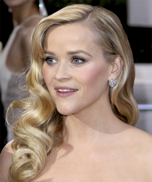 Reese Witherspoon Long Wavy Formal Hairstyle - Light Blonde Hair Color - side view