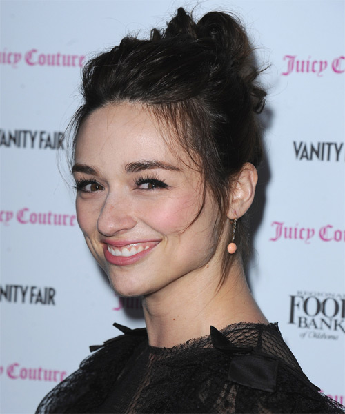 Crystal Reed Casual Straight Updo Hairstyle - Dark Brunette - side view 1