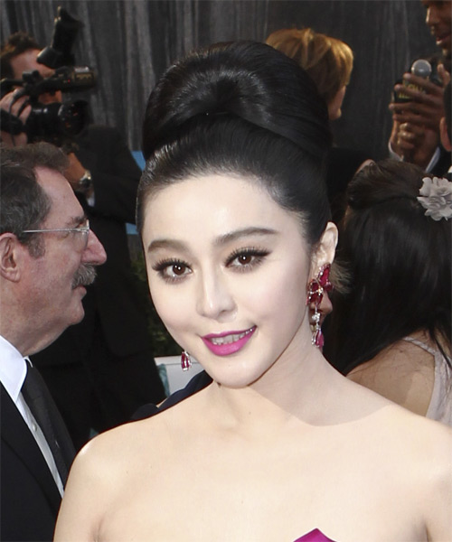 Fan Bingbing Updo Long Straight Formal Wedding - Black - side view