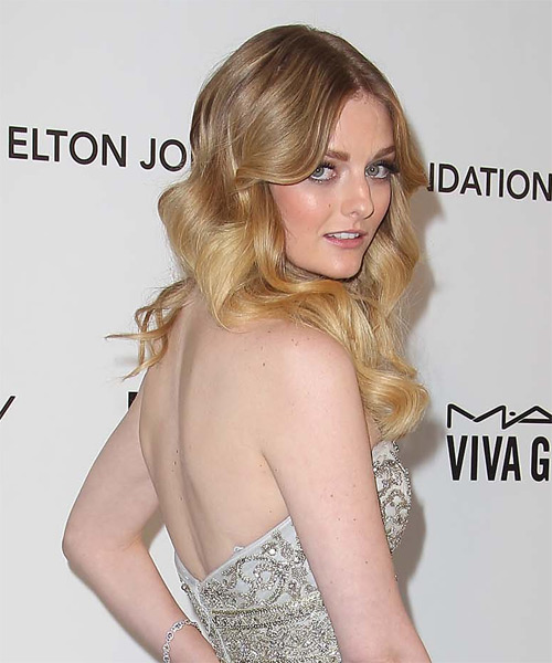 Lydia Hearst Long Wavy Hairstyle - Medium Blonde (Golden) - side view
