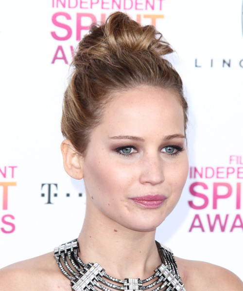 Jennifer Lawrence Casual Straight Updo Hairstyle - Light Brunette (Chestnut) - side view 1
