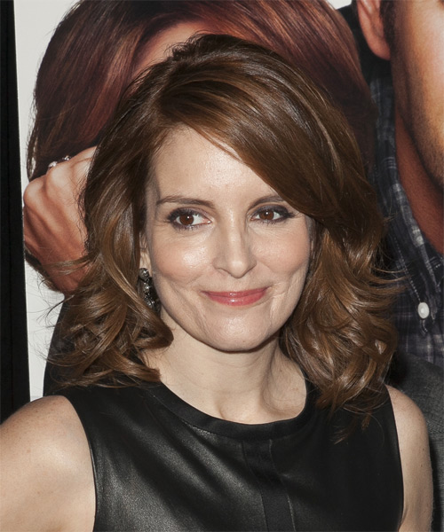 Tina Fey Medium Wavy Hairstyle - Medium Brunette (Chocolate) - side view