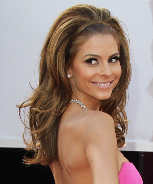 Maria Menounos Long Straight Hairstyle - Medium Brunette (Caramel) - side view
