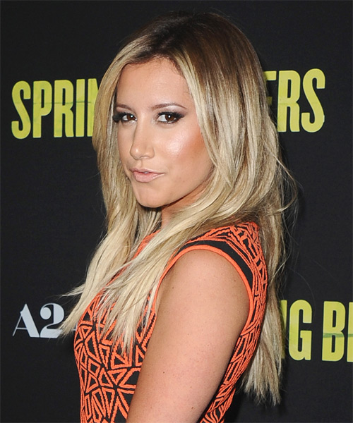 Ashley Tisdale Long Straight Casual Hairstyle - Dark Blonde Hair Color - side view