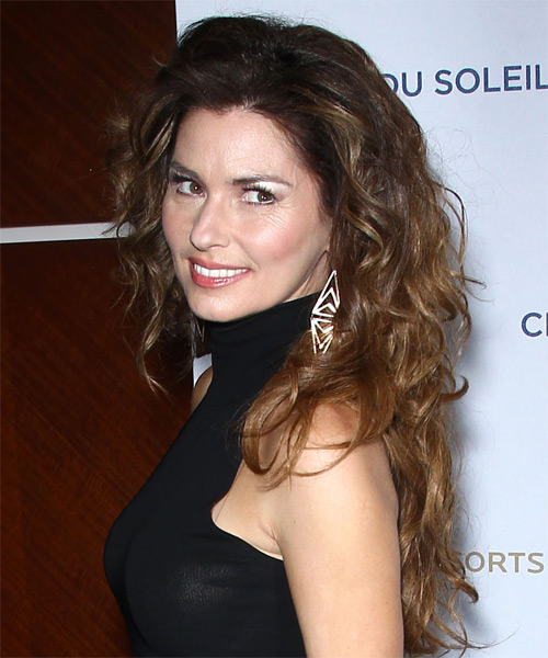 Shania Twain Long Wavy Casual Hairstyle - side view