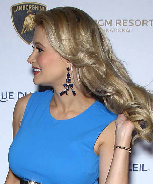 Holly Madison Long Wavy Formal Hairstyle - Medium Blonde Hair Color - side view
