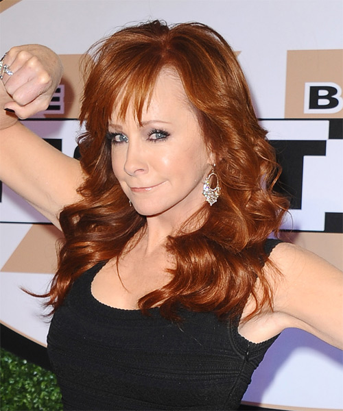 Reba McEntire Long Wavy Formal Hairstyle with Layered Bangs - Dark Red Hair Color - side view