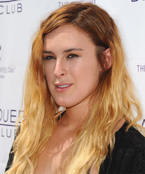 Rumer Willis Long Straight Hairstyle - Medium Blonde (Golden) - side view 1
