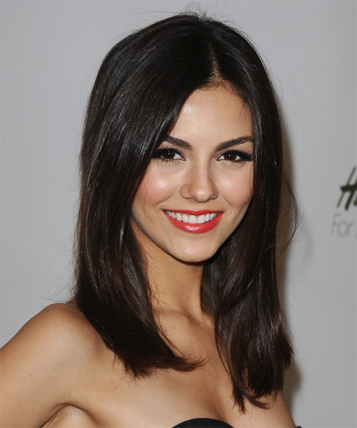 Victoria Justice Long Straight Hairstyle - Dark Brunette (Mocha) - side view