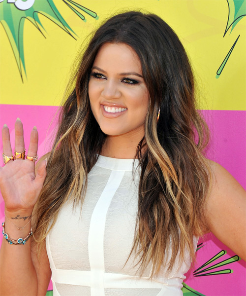 Khloe Kardashian Long Straight Casual Hairstyle - Dark Brunette Hair Color - side view