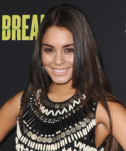 Vanessa Hudgens Long Straight Casual Hairstyle - Dark Brunette Hair Color - side view
