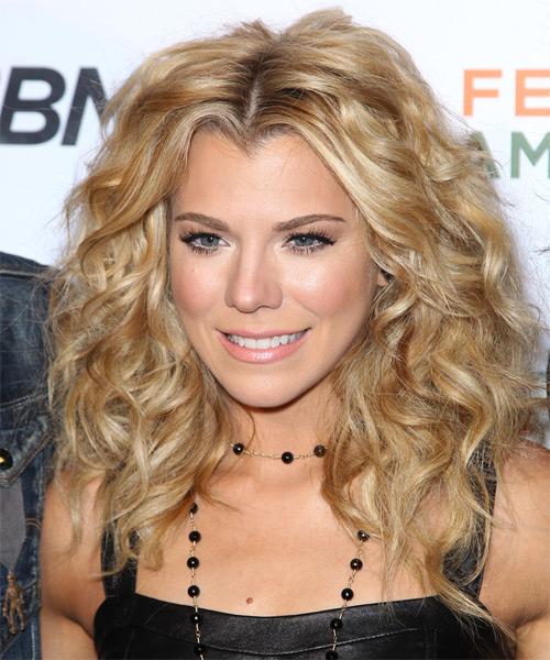 Kimberly Perry Medium Curly Hairstyle - Dark Blonde (Golden) - side view 1