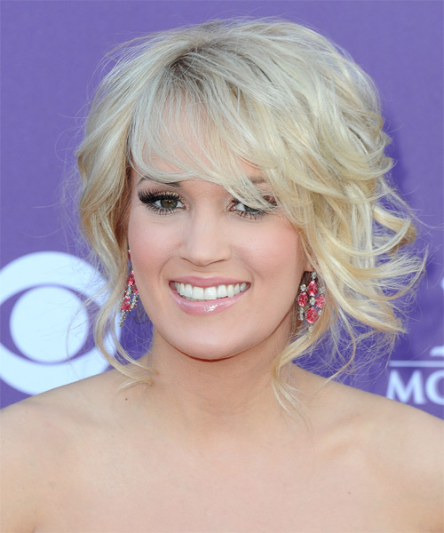 Carrie Underwood Curly Formal Updo Hairstyle with Side Swept Bangs - Light Blonde Hair Color - side view