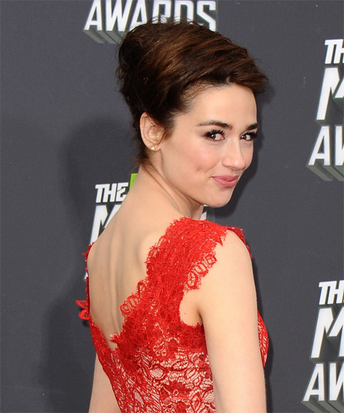 Crystal Reed Formal Straight Updo Hairstyle - side view 1
