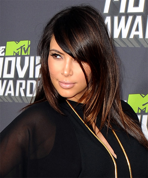 Kim Kardashian Long Straight Formal Hairstyle - side view