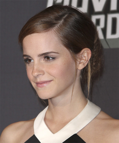 Emma Watson Straight Casual Updo Hairstyle - side view