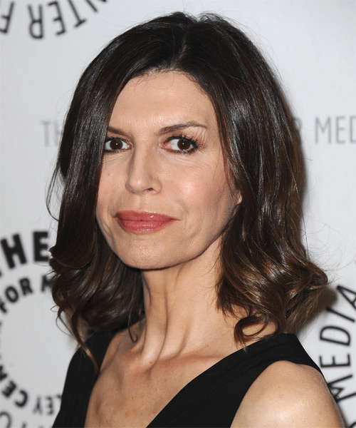 Finola Hughes Medium Straight Hairstyle - Dark Brunette - side view 1
