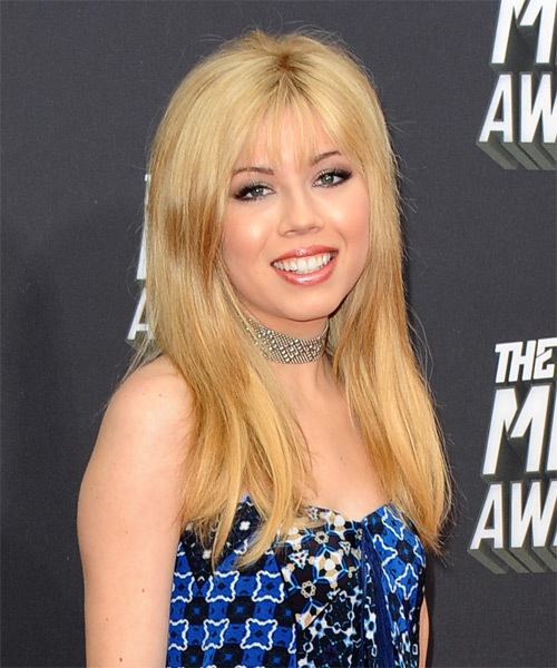 Jenette McCurdy Long Straight Casual  with Layered Bangs - Medium Blonde (Golden) - side view