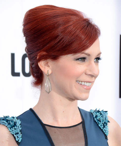 Carrie Preston Updo Long Straight Formal Wedding with Side Swept Bangs - Medium Red - side view
