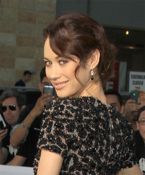 Olga Kurylenko Straight Casual Updo Hairstyle - Medium Brunette Hair Color - side view