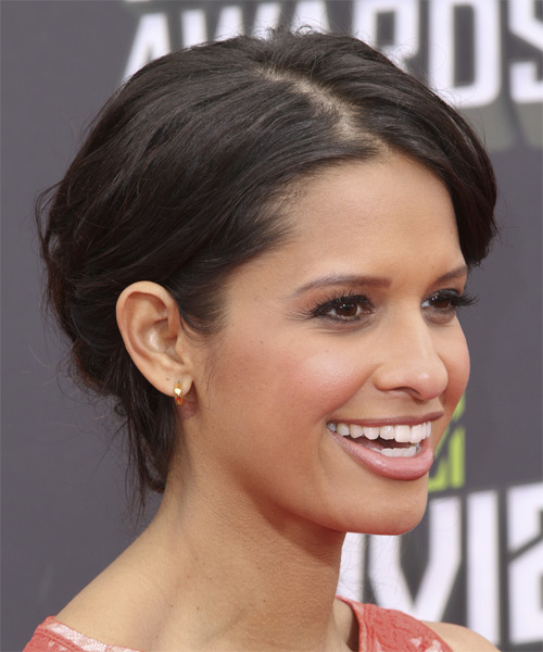 Rocsi Diaz Curly Formal Updo Hairstyle - Dark Brunette Hair Color - side view