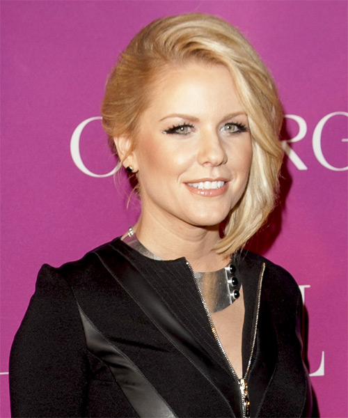 Carrie Keagan Short Straight Bob Hairstyle - Light Blonde - side view