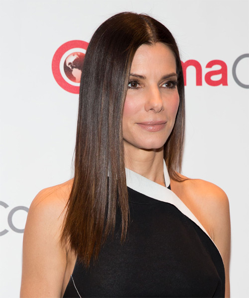 Sandra Bullock Long Straight Hairstyle - Medium Brunette (Chocolate) - side view 1