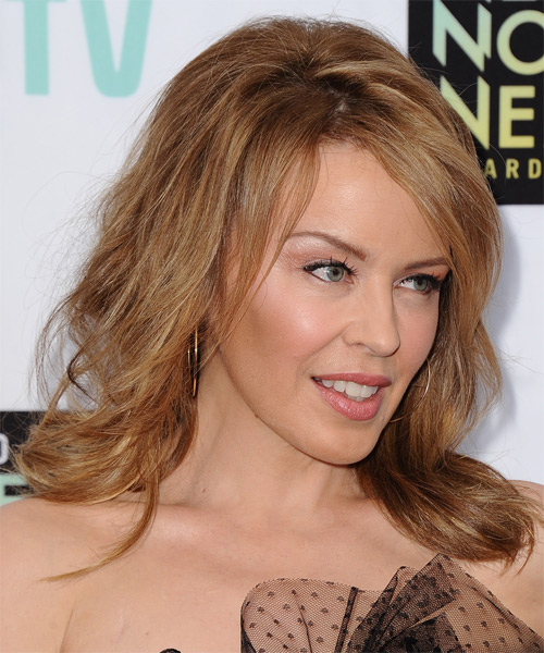 Kylie Minogue Medium Straight Hairstyle - Dark Blonde (Copper) - side view