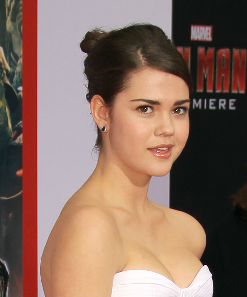 Maia Mitchell Straight Formal Updo Hairstyle with Side Swept Bangs - Medium Brunette Hair Color - side view