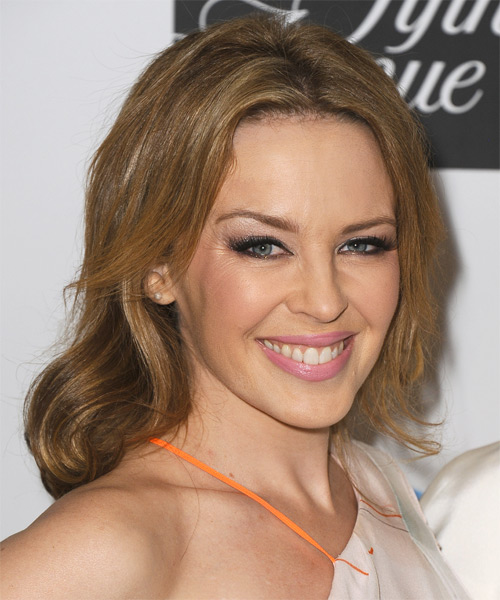 Kylie Minogue Medium Straight Casual  - Dark Blonde (Golden) - side view