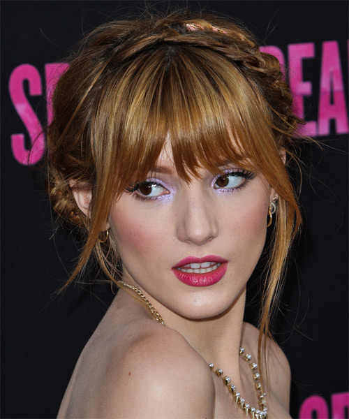 Bella Thorne Straight Casual Updo Hairstyle with Layered Bangs - Light Red (Copper) Hair Color - side view