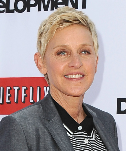 Ellen DeGeneres Short Straight Casual Hairstyle - Light Blonde Hair Color - side view