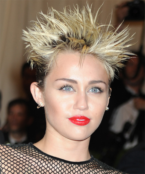 Miley Cyrus Short Straight Alternative Hairstyle - Medium Blonde Hair Color - side view