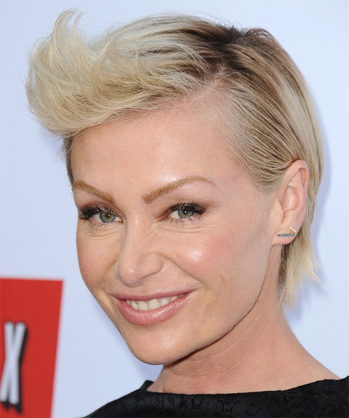 Portia De Rossi Short Straight Hairstyle - Light Blonde - side view