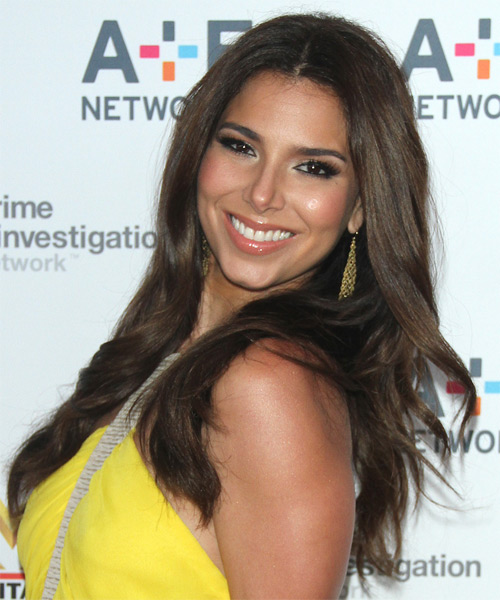 Roselyn Sanchez Long Straight Hairstyle - Dark Brunette - side view 1