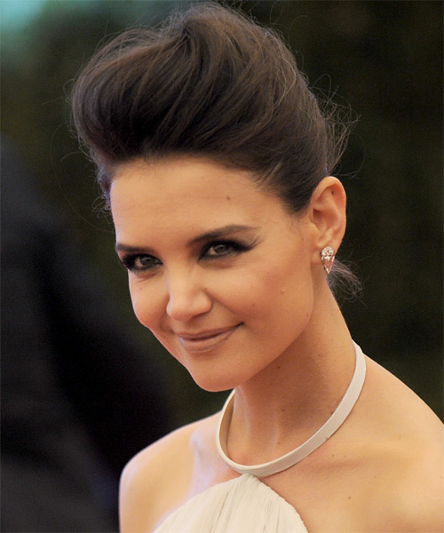 Katie Holmes Straight Formal Updo Hairstyle - Dark Brunette Hair Color - side view