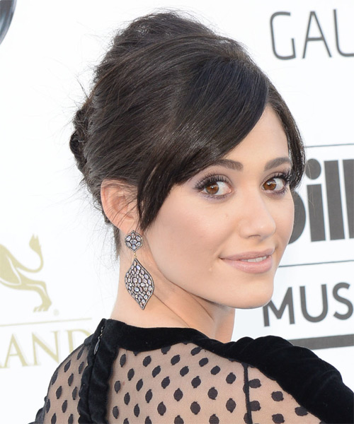 Emmy Rossum Formal Straight Updo Hairstyle - side view