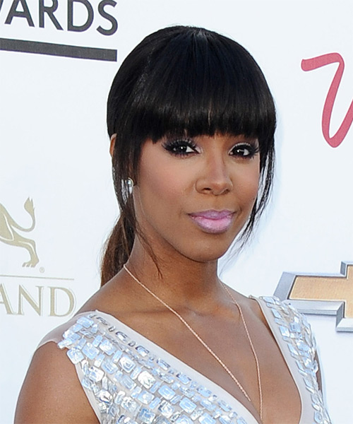 Kelly Rowland Casual Straight Updo Hairstyle - side view 1