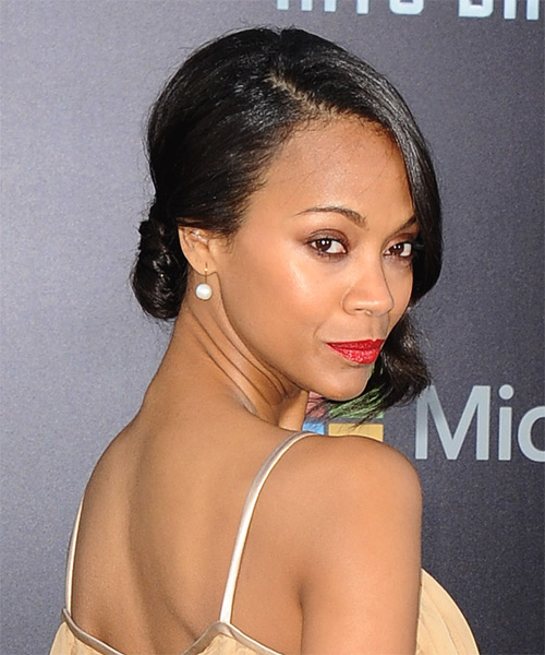 Zoe Saldana Formal Straight Updo Hairstyle - side view
