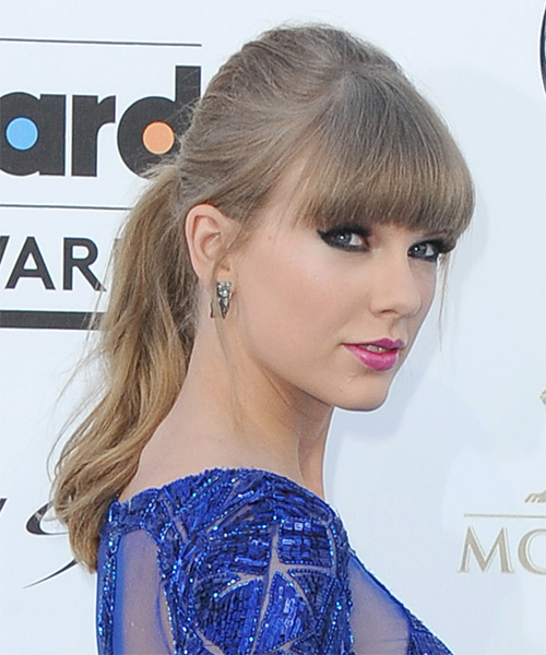 Taylor Swift Straight Casual Updo Hairstyle with Blunt Cut Bangs - side view